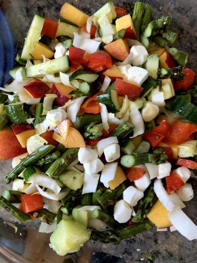 Photo of chopped vegetables in a glass bowl